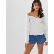 ASOS DESIGN long sleeve off the shoulder top with shirring detail