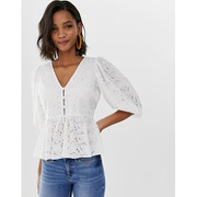 ASOS DESIGN tea blouse in broderie with volume sleeve