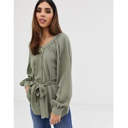 ASOS DESIGN button through top with scoop neck and batwing sleeve