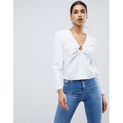 ASOS DESIGN long sleeve top with ring detail and split front