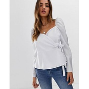 ASOS DESIGN long sleeve wrap top with sweetheart neckline