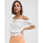 Bershka shirred detail blouse in white
