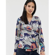 Brave Soul wrap front blouse in navy floral