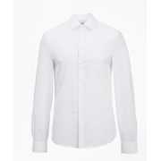 Brooksbrothers Milano Slim Fit Dress Shirt, Performance Non-Iron with COOLMAX, Ainsley Collar Broadcloth
