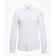 Brooksbrothers Milano Slim Fit Dress Shirt, Performance Non-Iron with COOLMAX, English Spread Collar Broadcloth