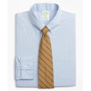 Brooksbrothers Stretch Milano Slim-Fit Dress Shirt, Non-Iron Check