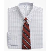 Brooksbrothers Stretch Regent Fitted Dress Shirt, Non-Iron Grid Check