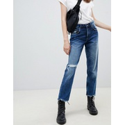 Cheap Monday cropped mom jean in rigid denim with destroyed hem