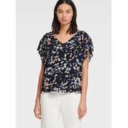 DKNY PRINTED V-NECK TOP WITH RUFFLE SLEEVE
