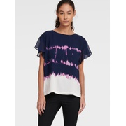 DKNY TIE DYE TOP WITH FLUTTER SLEEVE