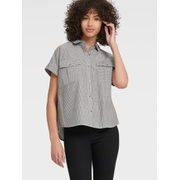 DKNY STRIPED SHORT SLEEVE BUTTON UP WITH CHEST POCKETS
