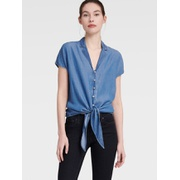 DKNY CHAMBRAY TIE-FRONT BLOUSE