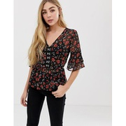 Influence hook and eye blouse in floral print