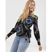 Influence blouson sleeve wrap blouse