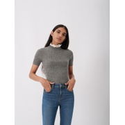 Maje Light sweater, stand-up guipure collar