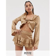Missguided Petite Exclusive two-piece tie front satin blouse with frills in gold