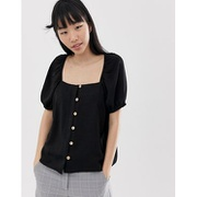 New Look top with square neck in black