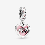 Mom Script Heart Dangle Charm | Silver | Pandora US