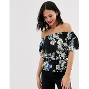 Parisian bardot top in floral print