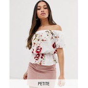 Parisian Petite off shoulder top in floral print