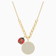 Swarovski Lisabel Coin Necklace, Red, Gold-tone plated