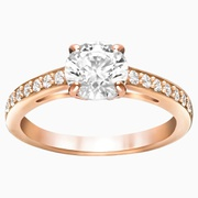 Swarovski Attract Round Ring, White, Rose-gold tone plated